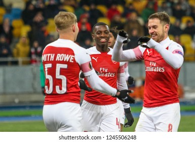 POLTAVA, UKRAINE - 29 NOVEMBER 2018: Footballers FC Arsenal are glad to score a goal during UEFA League Europe match Vorskla - Arsenal London at Vorskla Stadium