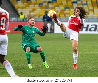 POLTAVA, UKRAINE - 29 NOVEMBER 2018: French professional footballer Matteo Guendouzi during UEFA League Europe match Vorskla - Arsenal London at Vorskla Stadium