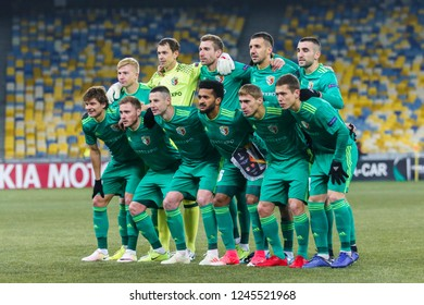 POLTAVA, UKRAINE - 29 NOVEMBER 2018: FC Vorskla players while photographing during UEFA League Europe match Vorskla - Arsenal London at Vorskla Stadium