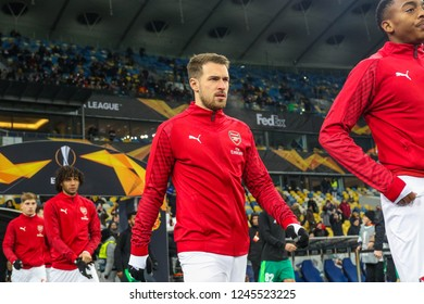 POLTAVA, UKRAINE - 29 NOVEMBER 2018: Welsh professional footballer Aaron Ramsey during UEFA League Europe match Vorskla - Arsenal London at Vorskla Stadium