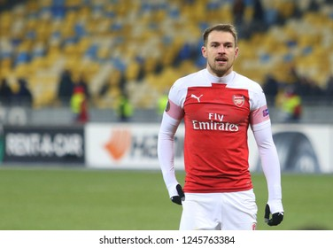 POLTAVA, UKRAINE - 29 NOVEMBER 2018: Welsh professional footballer Aaron Ramsey during UEFA League Europe match Vorskla - Arsenal London at Vorskla Stadium