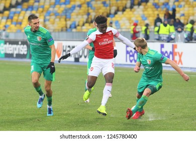 POLTAVA, UKRAINE - 29 NOVEMBER 2018: English professional footballer Bukayo Saka during UEFA League Europe match Vorskla - Arsenal London at Vorskla Stadium