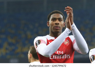 POLTAVA, UKRAINE - 29 NOVEMBER 2018: English professional footballer Zech Medley during UEFA League Europe match Vorskla - Arsenal London at Vorskla Stadium