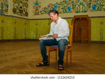 POLTAVA, UKRAINE - 7 JUNE, 2018: Ukrainian prose writer, poet, essayist and translator Yurii Andrukhovych during Meridian Poets Festival