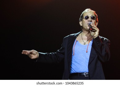 POLTAVA, UKRAINE - 7 MARCH, 2018: Italian counterpart Adriano Celentano Adolfo Sebastiani during the concert «Adriano Celentano Tribute» in Palace of leisure «Listopad»