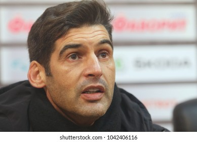 POLTAVA, UKRAINE - 9 MARCH, 2018: Football coach Paulo Fonseca during the match of the Ukrainian Football Championship Vorskla - Shakhtar at the Oleksiy Butovskyi Vorskla Stadium