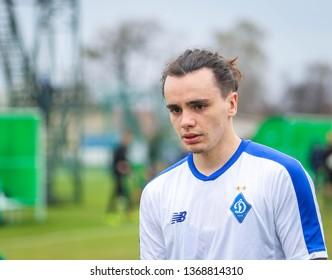 POLTAVA, UKRAINE - APRIL 11, 2019: Professional Ukrainian football midfielder Mykola Shaparenko during the match of the youth teams Vorskla - Dynamo Kyiv at the Ltava stadium