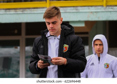 POLTAVA, UKRAINE – APRIL 15, 2017: Ukrainian footballer Taras Sakiv during the match football championship Ukraine Vorskla (Poltava) - Karpaty (Lviv) in the Oleksiy Butovskyi Vorskla Stadium