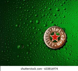 POLTAVA, UKRAINE - APRIL 29, 2017: Cap of beer Heineken
