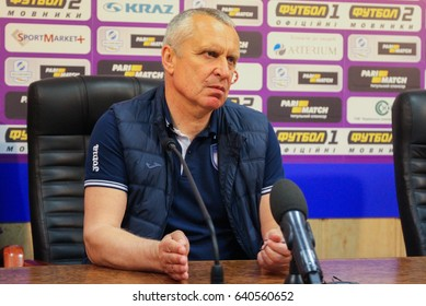 POLTAVA, UKRAINE – APRIL 29, 2017: Head coach FC Stal Leonid Kuchuk during the match football championship Ukraine Vorskla (Poltava) - FC Stal Kamianske in the Oleksiy Butovskyi Vorskla Stadium