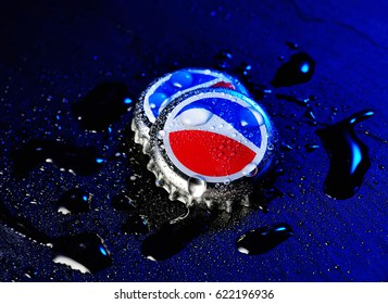 POLTAVA, UKRAINE - APRIL 7, 2017: Pepsi Cola Cap.Pepsi is a carbonated soft drink that is produced and manufactured by PepsiCo.