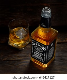 POLTAVA, UKRAINE - APRIL 7, 2017:Jack Daniel's whiskey bottle and glass. Jack Daniel's is a brand of sour mash Tennessee whiskey and the highest selling American whiskey in the world.