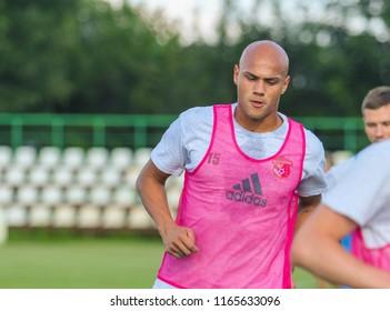 POLTAVA, UKRAINE - AUGUST 18, 2018: Brazilian footballer Nicolas Careca during a friendly match Vorskla – Kremin at the stadium Ltava