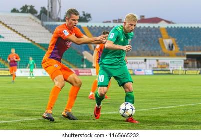 POLTAVA, UKRAINE - AUGUST 18, 2018: Ukrainian footballer Vladyslav Kulach (R) during the match of the Ukrainian Premier League Vorskla – FC Mariupol at the Oleksiy Butovsky Vorskla Stadium