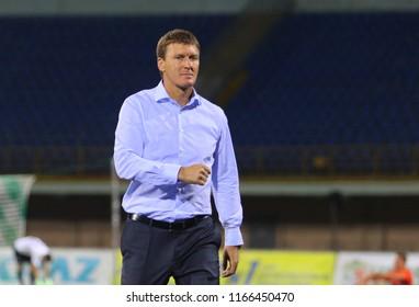POLTAVA, UKRAINE - AUGUST 18, 2018: Head coach of Vorskla Poltava Vasyl Sachko during the match of the Ukrainian Premier League Vorskla – FC Mariupol at the Oleksiy Butovsky Vorskla Stadium