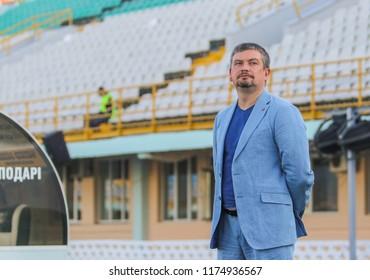 POLTAVA, UKRAINE - AUGUST 18, 2018 ... Vice-president FC Mariupol Andriy Sanin during the match of the Ukrainian Premier League Vorskla – FC Mariupol at the Oleksiy Butovsky Vorskla Stadium