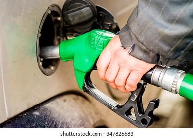 POLTAVA, UKRAINE - DECEMBER 06, 2015: Equipment for pumping gasoline fuel in car at gas station.