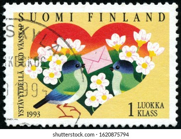 POLTAVA, UKRAINE - January 20, 2020. Vintage stamp printed in Finland circa 1993 show Friendship