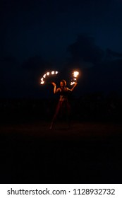 POLTAVA, UKRAINE - JULY 06, 2018: fire show on the open air meeting celebrating old christian tradition