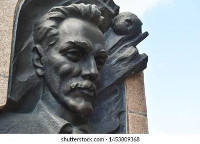 POLTAVA, UKRAINE - JULY 14, 2019: Monument to the famous Ukrainian scientist-inventor in the field of cosmonautics Yuri Kondratyuk