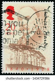 POLTAVA, UKRAINE - JUNE 26, 2019. Vintage stamp printed in Great Britain 1990 shows the 150th Anniversary of the Birth of Thomas Hardy