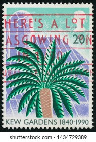 POLTAVA, UKRAINE - JUNE 26, 2019. Vintage stamp printed in Great Britain 1990 shows The 150th Anniversary of the Kew Gardens