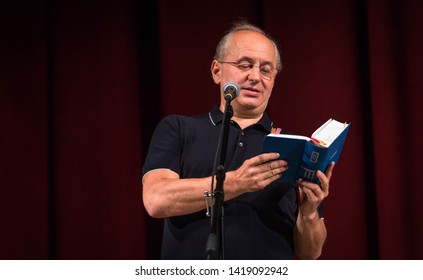 "POLTAVA, UKRAINE - JUNE, 7 2019: Ukrainian poet and publisher, founder publishing house ""A-ba-ba-ha-la-ma-ha"" Ivan Malkovych during the conduct Meridian Poltava Festival of Poets"
