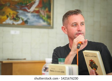 POLTAVA, UKRAINE - JUNE, 7 2019: Ukrainian poet, novelist, essayist, and translator Serhiy Zhadan during the conduct Meridian Poltava Festival of Poets at the City House of Culture