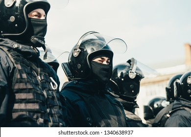 POLTAVA, UKRAINE - MARCH 16, 2019: Police force on local gathering before President election in Ukraine