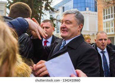 POLTAVA, UKRAINE - MARCH 16, 2019: President of Ukraine Petro Poroshenko during meeting of the Council for Regional Development at the Palace «Listopad»