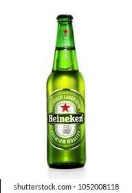 POLTAVA, UKRAINE - MARCH 22, 2018: Bottle of Heineken Lager Beer on white background. Heineken is the flagship product of Heineken International