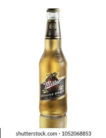 POLTAVA, UKRAINE - MARCH 22, 2018:Miller Genuine Draft is the original cold filtered packaged draft beer, a product of the Miller Brewing Company owned by SABMiller.