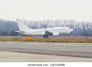 POLTAVA, UKRAINE - MARCH 23, 2019: Boeing 737 passenger aircraft during landing at Poltava International Airport
