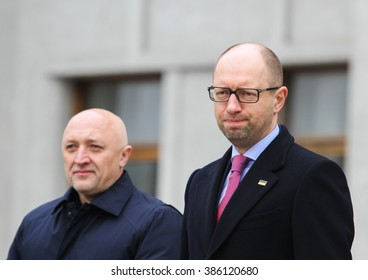 POLTAVA, UKRAINE - March 5, 2016: Prime Minister Arseniy Yatsenyuk (R) during the ceremony taking oath by the members of the new patrol police.