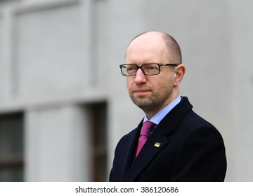 POLTAVA, UKRAINE - March 5, 2016: Prime Minister Arseniy Yatsenyuk during the ceremony taking oath by the members of the new patrol police.