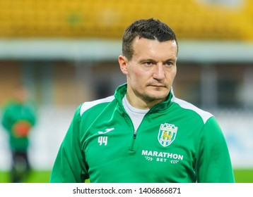 POLTAVA, UKRAINE - MAY 12, 2019:  Ukrainian football right defender who plays for Karpaty Lviv Artem Fedetskyi during the match of the Ukrainian championship Vorskla - FC Karpaty Lviv