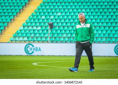 POLTAVA, UKRAINE - MAY 12, 2019:  Spanish football manager for Karpaty Lviv  Fabriciano Gonzalez Penelas (Fabri) during the match of the Ukrainian championship Vorskla - FC Karpaty Lviv