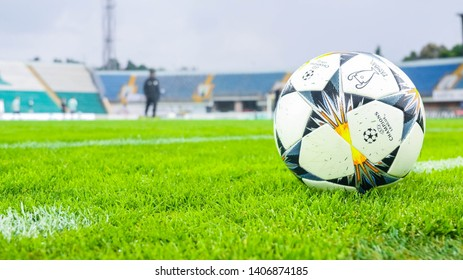 POLTAVA, UKRAINE - MAY 12, 2019: UEFA Champions League final soccer ball during the match of the Ukrainian championship Vorskla - FC Karpaty Lviv