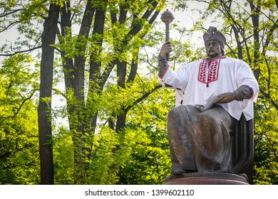 POLTAVA, UKRAINE - MAY 16, 2019: Monument to the Ukrainian Hetman of Zaporizhian Host Ivan Mazepa dressed in a national shirt (white vyshyvanka) on the Cathedral Square