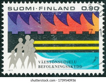 POLTAVA, UKRAINE - May 24, 2020. Vintage stamp printed in Finland circa 1977 show Civil protection