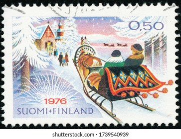 POLTAVA, UKRAINE - May 24, 2020. Vintage stamp printed in Finland circa 1976 show Christmas
