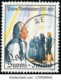 POLTAVA, UKRAINE - May 24, 2020. Vintage stamp printed in Finland circa 1977 show 200th anniversary of the birth of Paavo Ruotsalainen, Pietist Leader