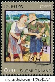 POLTAVA, UKRAINE - May 24, 2020. Vintage stamp printed in Finland circa 1975 how Paintings Tyko Konstantin Sallinen