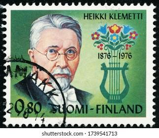 POLTAVA, UKRAINE - May 24, 2020. Vintage stamp printed in Finland circa 1976 show 100th anniversary of the birth of Heikki Klemetti, Composer