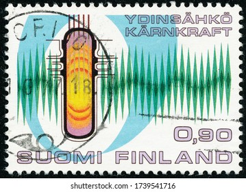 POLTAVA, UKRAINE - May 24, 2020. Vintage stamp printed in Finland circa 1977 show Hastholmen nuclear power plant
