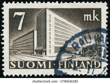 POLTAVA, UKRAINE - May 25, 2020. Vintage stamp printed in Finland circa 1942 show Central Post Office in Helsinki