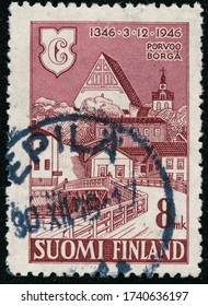 POLTAVA, UKRAINE - May 25, 2020. Vintage stamp printed in Finland circa 1946 show 600th anniversary of the town of Poorvo