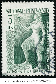 POLTAVA, UKRAINE - May 25, 2020. Vintage stamp printed in Finland circa 1949 show 50th Anniversary of the Social Democratic Union
