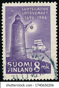 POLTAVA, UKRAINE - May 25, 2020. Vintage stamp printed in Finland circa 1946 show 250th anniversary of the Pilotage Authority