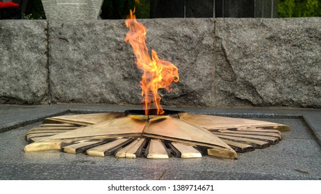 POLTAVA, UKRAINE - MAY 6, 2019: Eternal flame is a constantly burning fire symbolizing eternal memory